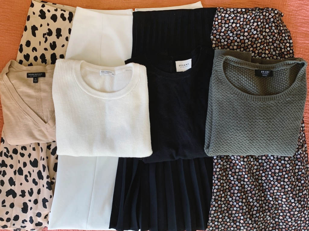 Sweaters and midi skirts