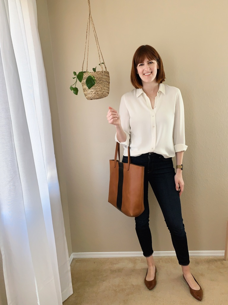 Brass the button down blouse with Everlane midrise skinny jeans