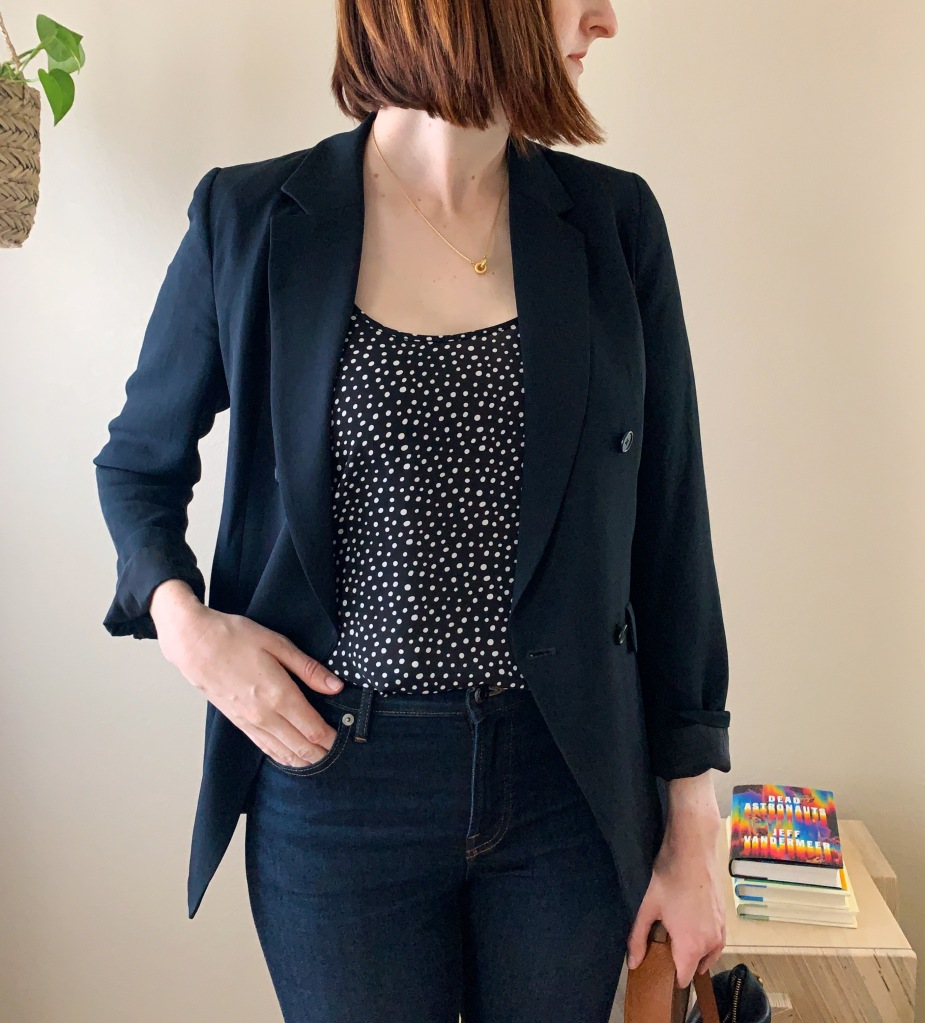 Casual office outfit with jeans