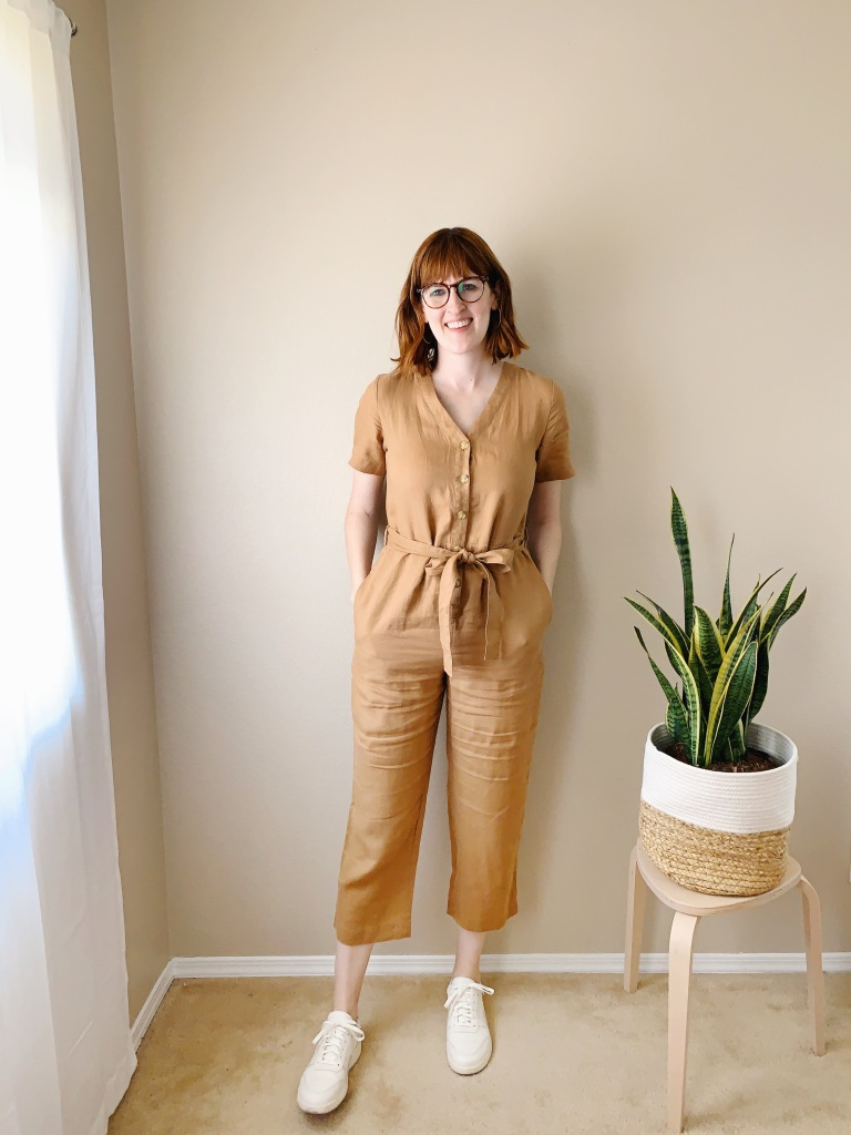 Everlane Linen Short Sleeve Jumpsuit and Court Sneaker