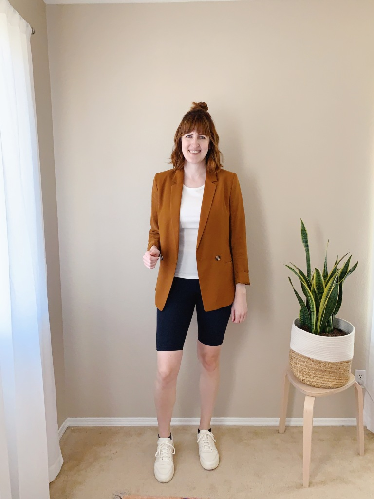 Athleta bike shorts and bike shorts in business casual outfits