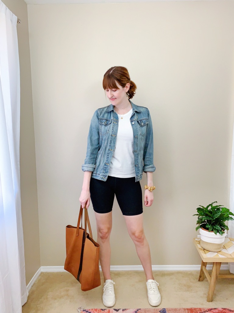 Everlane perform bike short casual outfit ideas